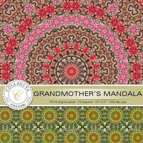 "Grandmother's Mandala, Digital Paper Pack, 10 printable sheets, 12""x12"" INSTANT DOWNLOAD, pale green, red, orange, large kaleidoscope by collageva"