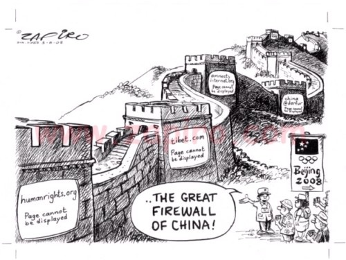 The Great Firewall of China is ironic to the Great Wall of China in that the wall is supposed to represent an ongoing path as oppossed to the Firewall which blocks users in their path to internet freedom. This is clearly demonstrated in this cartoon.