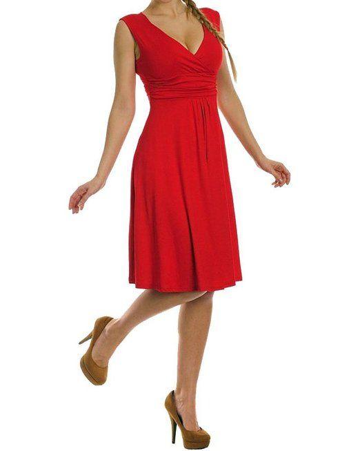 YipGrace Da Donna Profondo Scollo A V Colore Della Caramella Senza Maniche A Pieghe Vestito Corto L Rosso euro 12,15