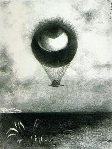 Odilon Redon, A Edgar Poe (planche 1) : L'Oeil, comme un ballon bizarre se dirige vers l'infini, 1882, 45x31cm, lithographie, musée des beaux arts, Bordeaux #OdilonRedon #cyclope #oeil #eye