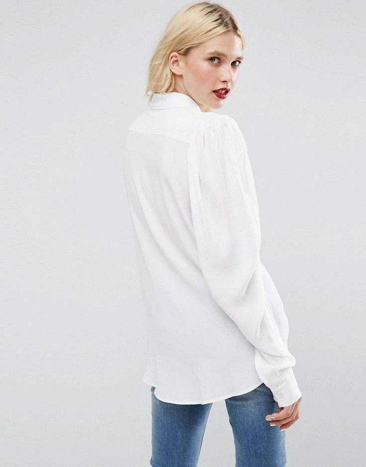 ASOS Blouse with Exaggerated Sleeve - White