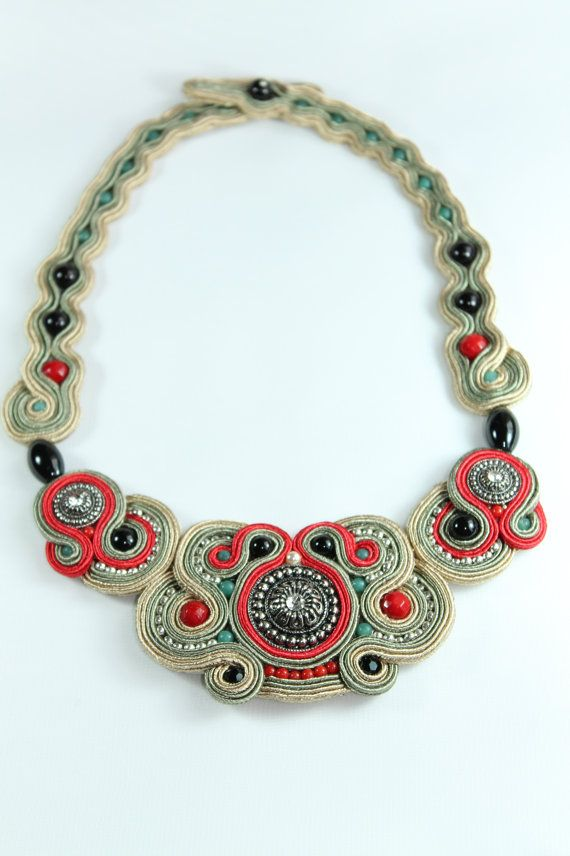 Soutache Necklace. by SoftAmethyst on Etsy