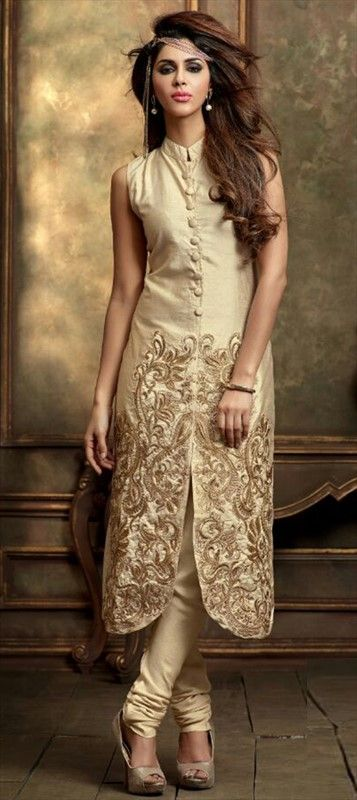 451215 Beige and Brown  color family Party Wear Salwar Kameez in Art Dupion Silk fabric with Machine Embroidery work .
