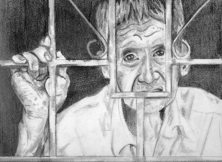 """""""Prisionero del tiempo""""  Grafito por Mauricio Pinilla"""