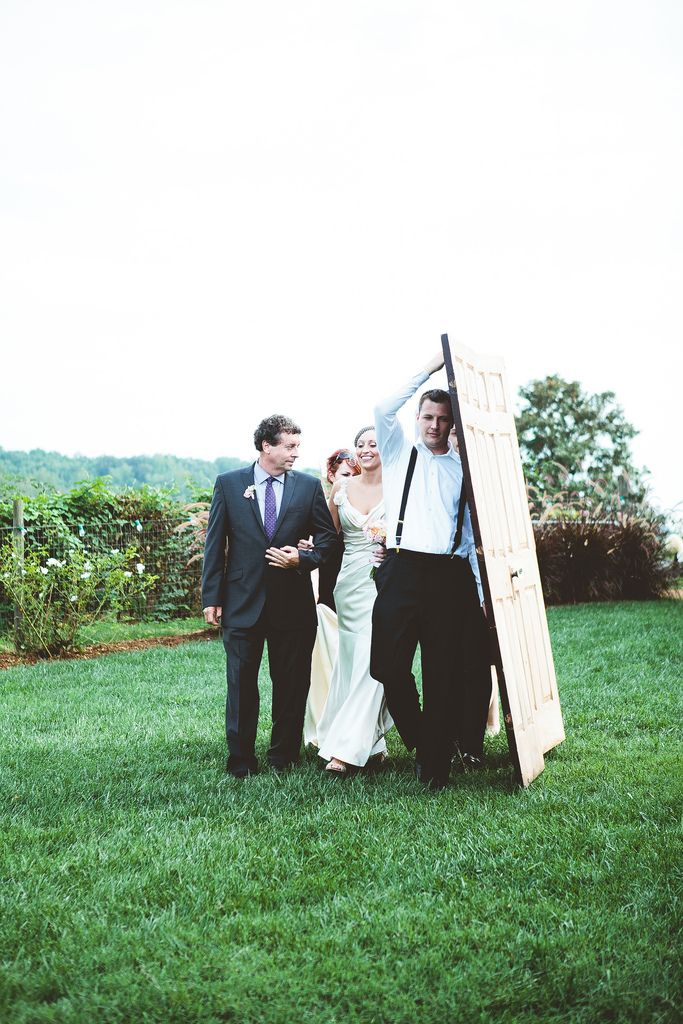 ". what a cool way to hide the bride at an outdoor wedding! ushers/groomsmen carry doors, then separate them at the end of the ""aisle"" to reveal the bride and her father ."
