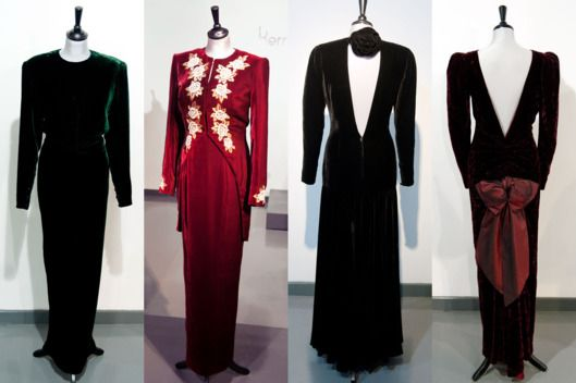Up for auction 3/19/2013- Victor Edelstein green velvet gown; a Catherine Walker burgundy velvet dress and embroidered tailcoat, worn for a State visit to Korea in 1992, a Bruce Oldfield black velvet evening gown, worn for an official portrait by Lord Snowdon, and a Catherine Walker burgundy crushed velvet evening gown, worn for a State visit to Australia and to the film premiere of Back to the Future in 1985  See All 10 Princess Diana Dresses Up for Sale -- The Cut