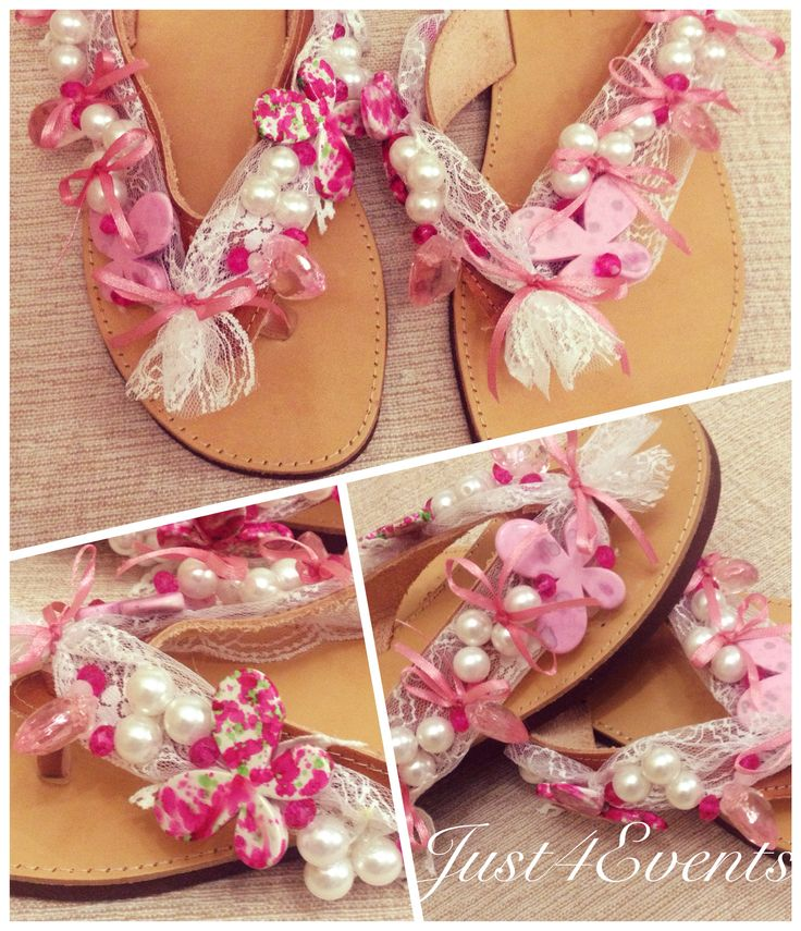 Handmade sandals by Just4Events Pink white