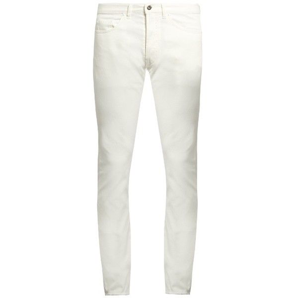 Valentino Slim-leg jeans ($695) ❤ liked on Polyvore featuring men's fashion, men's clothing, men's jeans, mens cuffed jeans and mens white jeans