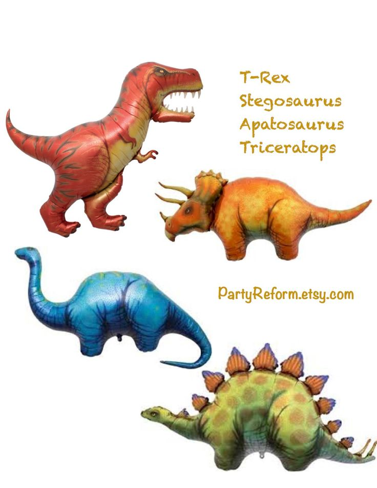 Dinosaur Balloons 4-Pack Large Mylar T-Rex Triceratops Apatosaurus Stegosaurus Dinosaurs Best Quality Balloons Jumbo Balloons Helium or Air by PartyReform on Etsy https://www.etsy.com/listing/243381991/dinosaur-balloons-4-pack-large-mylar-t