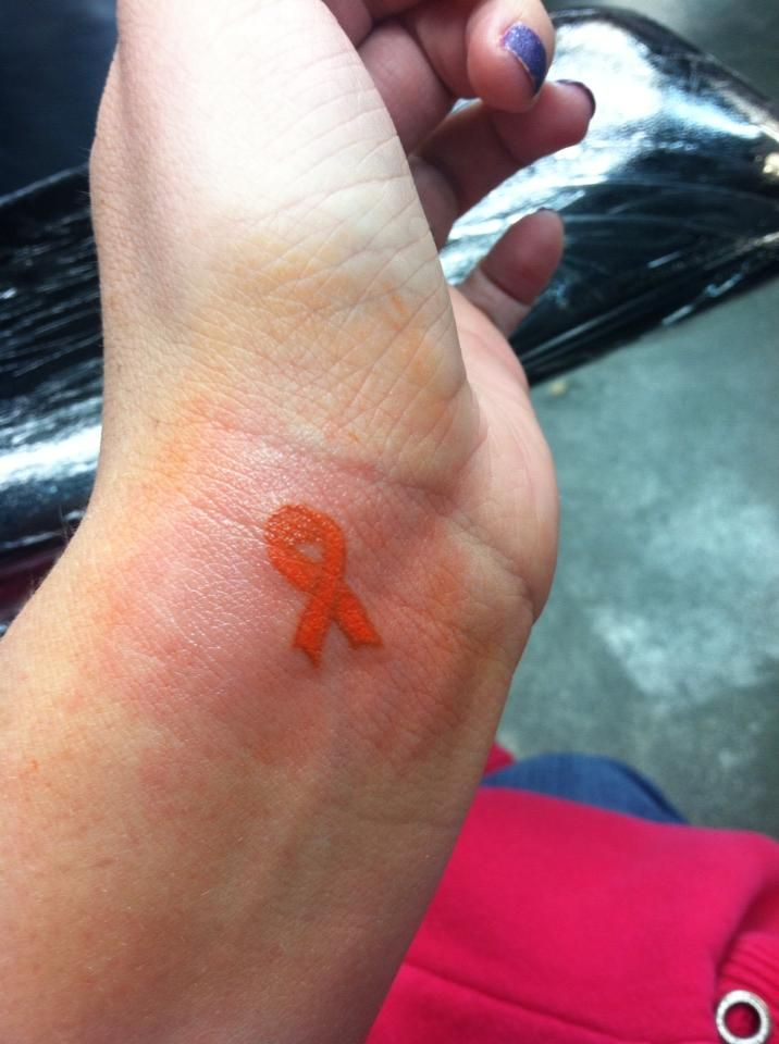 multiple sclerosis ribbon tattoos - Love this placement, but for a breast cancer ribbon for my sister!!!!!!