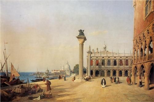 Venice View of the Esclavons Quay - Camille Corot: 1834 Camille, 80 Paintings, Esclavons Quay, Corot Venice, Art Camille Corot, French Camille