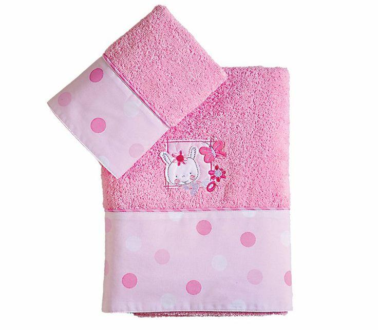 Βρεφικές πετσέτες κεντητές Bunny Girl