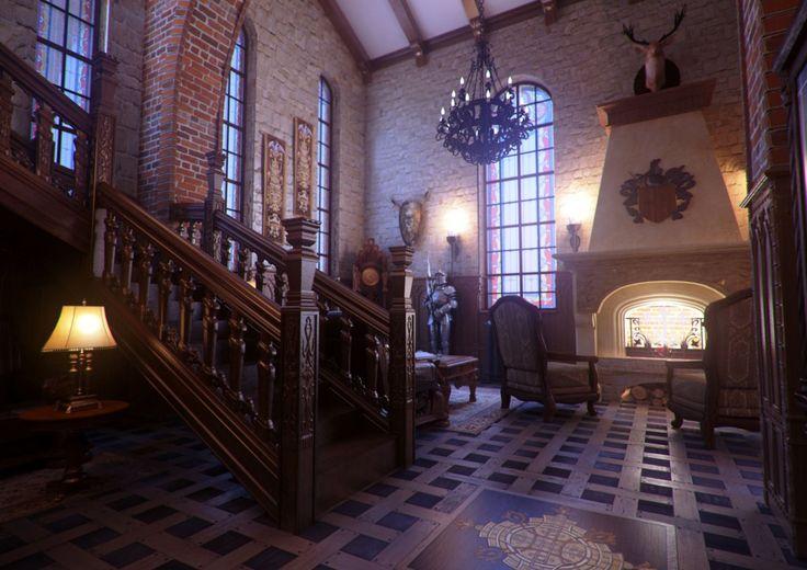 Amazing Classic Gothic Home Interior Design Rendering With Dark Mood Wooden Interior: Gothic Living Room Ideas