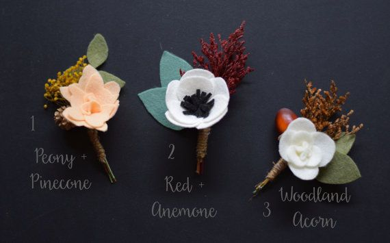 Rustic Woodland Boutonnieres  Fall Wedding Boutonniere