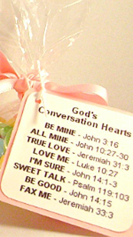 God's Conversation Hearts How-To ~ A cello bag filled with Conversation Hearts with ribbon and the Printable Tag: Be Mine - John 3:16, All Mine - John 10:27-30, True Love - Jeremia 31:3, Love Me - Luke 10:27, I'm Sure - John 14:1-3, Sweet Talk - Psalm 119:103, Be Good - John 14:15, Fax Me - Jeremiah 33:3