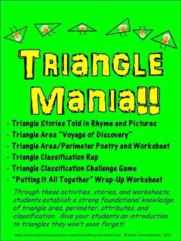 Triangle Mania!Area and perimeter of triangles, triangle classification, and triangle-based word problems are all addressed through a series of fun and meaningful common-core-based activities in this complete triangle unit. A must for any late elementary or early middle school math classroom!