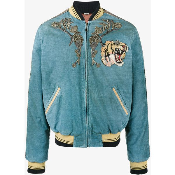 Gucci Loved Embroidered Bomber Jacket (193,915 THB) ❤ liked on Polyvore featuring men's fashion, men's clothing, men's outerwear, men's jackets, blue, men's embroidered bomber jacket, mens embroidered jacket, men's stand up collar jacket, gucci mens jacket and mens blue bomber jacket