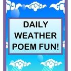 Fill in a creative and informative WEATHER POEM, every day!  Learn actual CLOUD NAMES!  Use descriptive language for CLOUD SHAPES!  Suggest good CLOTHING CHOICES for today's weather!  Use a list of 12 great WEATHER WORD CARDS.  Use the full-page CLOUD TYPES POSTER to have fun with cloud names and shapes.  Then fill in the DAILY WEATHER POEM with great kid-created language!  Bring some POEM FUN and some RHYTHM and RHYME to your Circle Time!  (15 pages)  From Joyful Noises Express TpT!  $