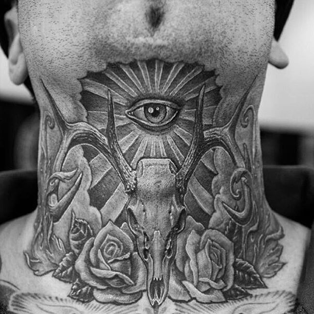 SnapWidget | Throat piece by @chueyquintanar ♠️ www.facebook.com/TTTism www.TTTism.tumblr.com ♠️ #TTTism #ContemporaryTattooing #tattoo #bodyart #illustration #skin #adornment #pain #ritual #tradition #art #craft #blackandgrey