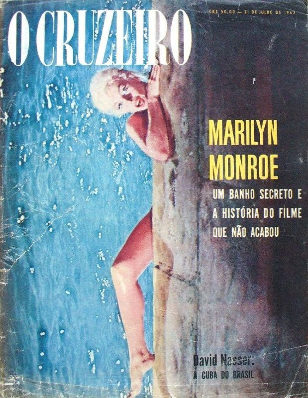 """O Cruzero - July 1962, magazine from Brazil. Front cover photo of Marilyn Monroe on the set of """"Something's Got To Give"""", 1962."""