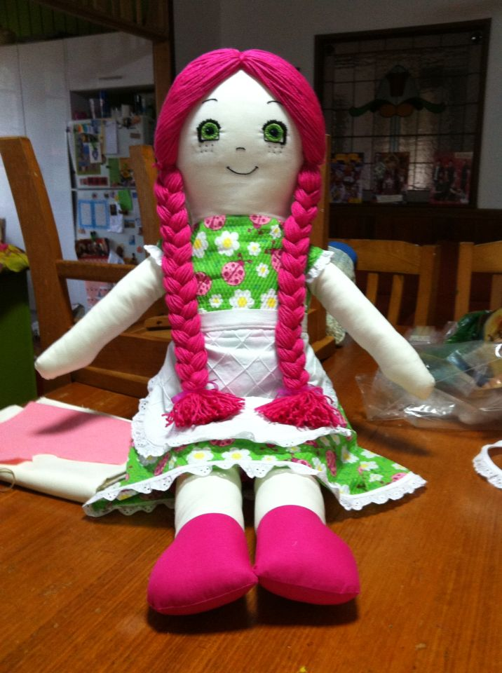 When I was 8 I was given a large rag doll, she had blue hair and wore a blue dress, I called her Blueberry. I gave her to my eldest daughter. Now my youngest daughter wants her so I made this copy, maybe she'll call her Strawberry, who knows?