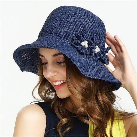 Crochet flower straw hat for summer ladies sun hats travel or beach wear
