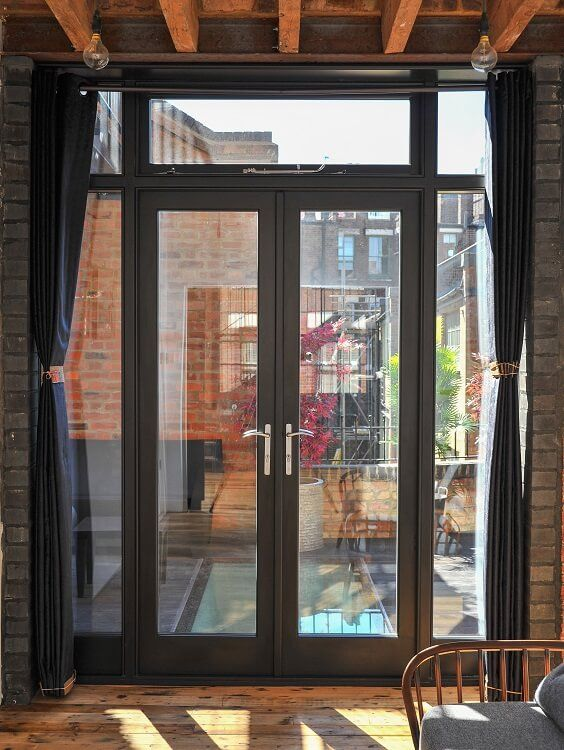 Black Timber French Door Manufactured and Installed by The Sash Window Workshop