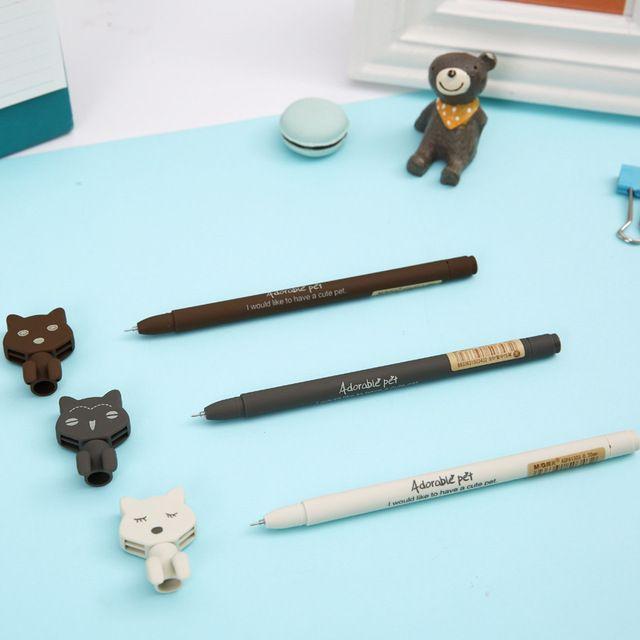 1 Шт. Симпатичные Kawaii Cat Животных Дети Студент 0.38 мм М & g качество Черные Чернила Гелевые Ручки Школа Офис Написание Оборудование Канцтовары инструменты