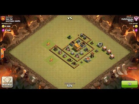 Clash of Clans TH5 vs TH4 Barbarian Clan War 3 Star Attack ⋆ Clash of Clans 3 Stars Clan Wars