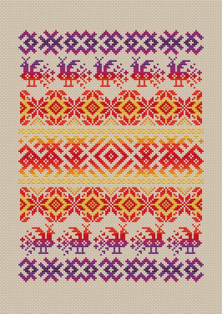 Russian cross stitch pattern Folk Russian ornament cross