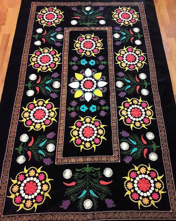 FREE SHIPPINGUzbek vintage silk velvet embroidery