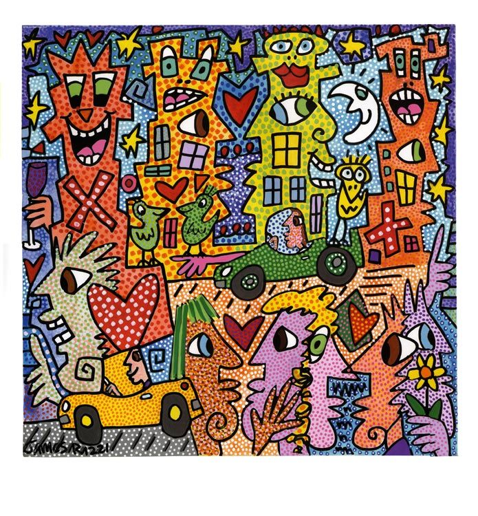 James Rizzi TIME IS ONLY BUT A TEST -would make a nice comparative art style with Romero Britto's work. SP