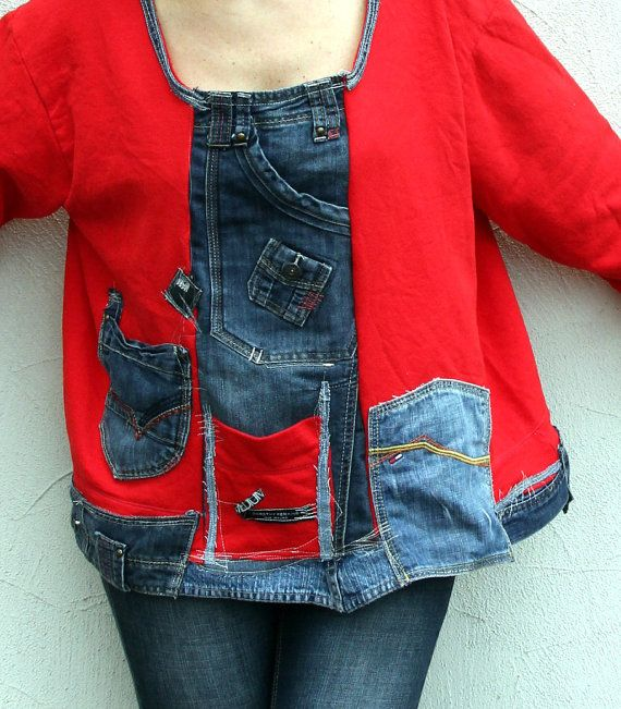 Crazy recycled denim jeans appliqued blouse shirt. Made from recycled clothing. Remade, reused and upcycled. very useful and comfortable. Perfect with