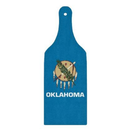 Glass cutting board paddle with Oklahoma flag - kitchen gifts diy ideas decor special unique individual customized