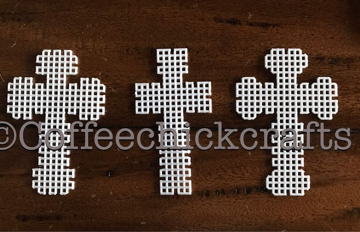 Set of 3 Fancy Crosses Plastic Canvas Cut Outs Plastic Canvas
