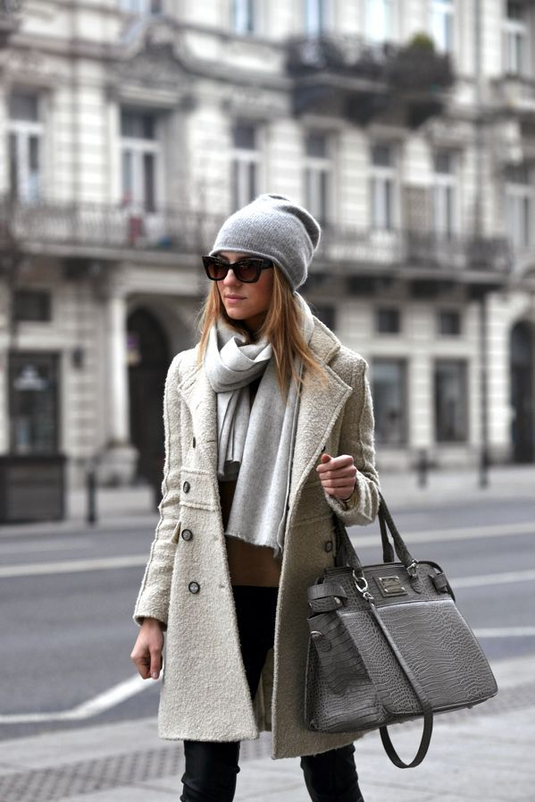 Fall/ winter outfit ideas. off-white long coat. Grey beannie/ scarf. Black pants.: