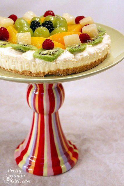 Citrus Striped Cake Plate