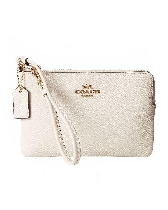 Coach White Box Program Leather Small L-Zip Wristlet