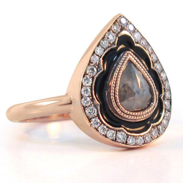 Rosecut Pear Diamond Ring    14k rose gold grey rosecut pear diamond enamel art deco engagement ring      Starting at $3500