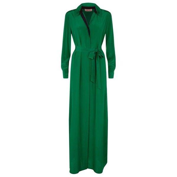 Diane von Furstenberg Geanb Silk Maxi Shirt Dress ($505) ❤ liked on Polyvore featuring dresses, maxi shirt dress, silk dress, maxi dresses, silk shirt dresses and long silk shirt dress