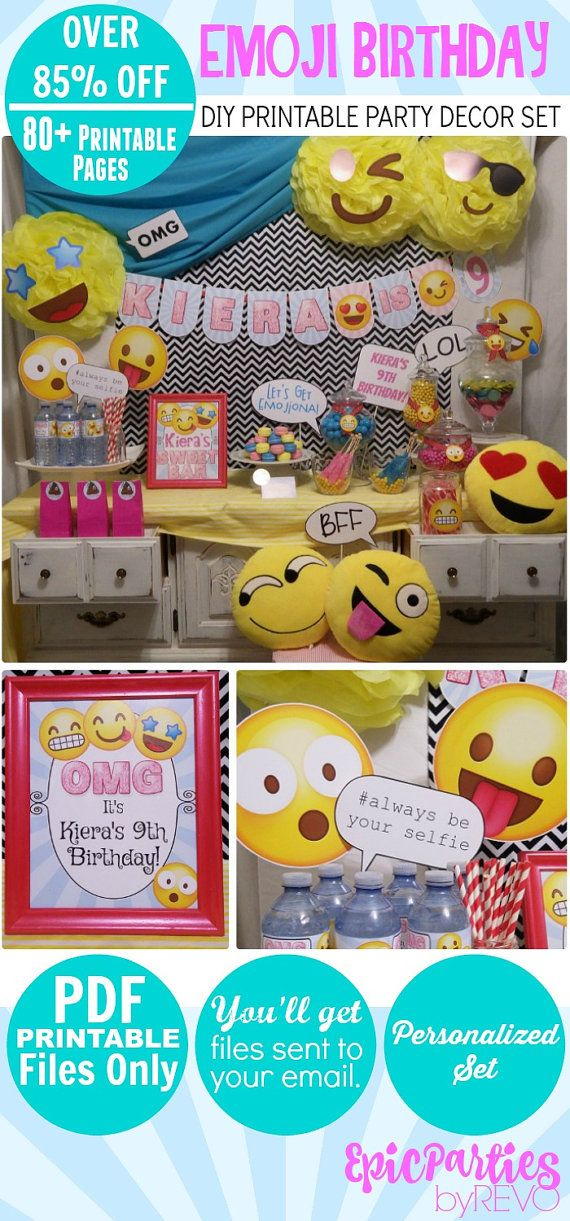 Emoji Birthday Printable  Emoji Party  DIY por EpicpartiesbyREVO