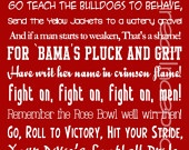 Alabama Fight Song Subway Art Poster 11x14