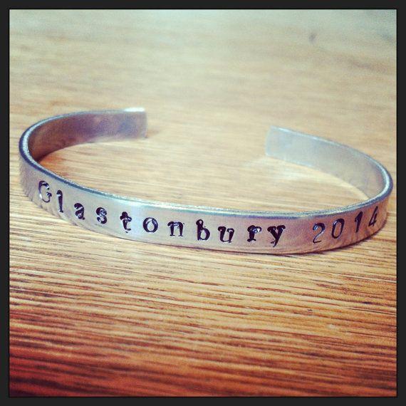 Glastonbury 2014   hand stamped bracelet.  Festival by woollyfrog, £10.00