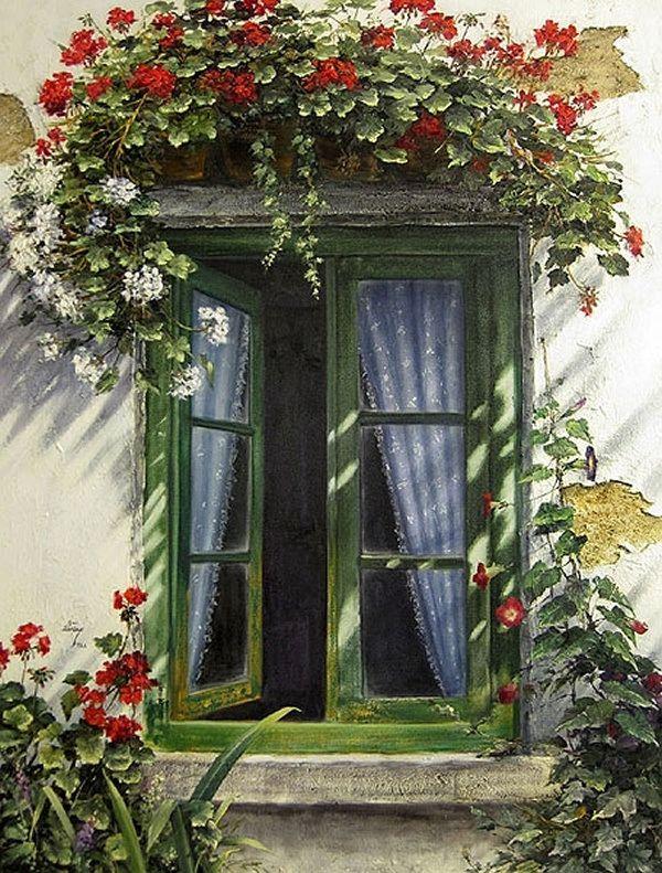 Window & flowers - unknown painter