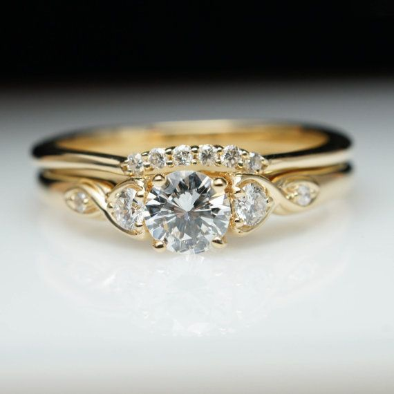 round diamond engagement ring 14k yellow gold wedding band complete bridal set vintage style engagement - Wedding Rings Gold
