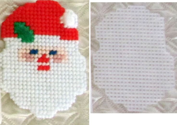Plastic Canvas Santa Ornament or Coaster wiith Cut by AdelesCrafts