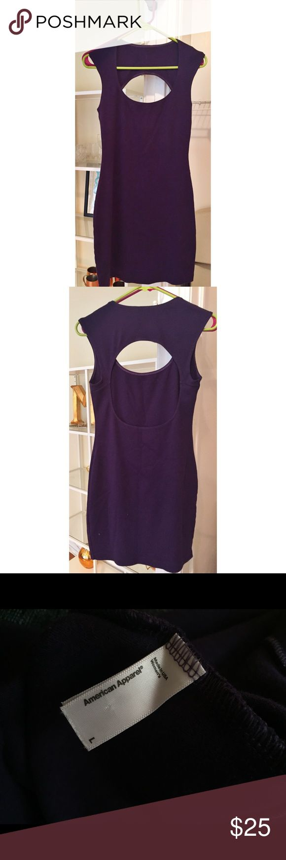 "American Apparel Purple Body con Midi Dress Beautiful purple bodycon dress from American Apparel. Only worn once or twice. Second pictures shows the back design. Looks great on its own or paired with hose. Size large. I'm 5'10"" and it hits mid-thigh. American Apparel Dresses Midi"