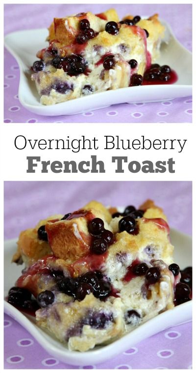 Overnight Blueberry French Toast Recipe : so easy to make the night before and pop in the oven the next morning. A delicious breakfast casserole recipe with the surprise of blueberries and cream cheese and a lovely blueberry sauce topping. Perfect brunch recipe for a special occasion.: