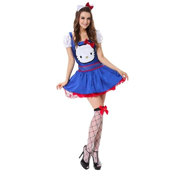 womens hello kitty halloween costume cute blue 31 liked on polyvore featuring costumes - Halloween Costumes That Are Cute
