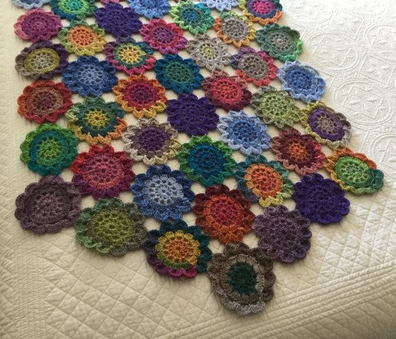 Crochet runner bed throw multicolour throw bed by JilaCrochet
